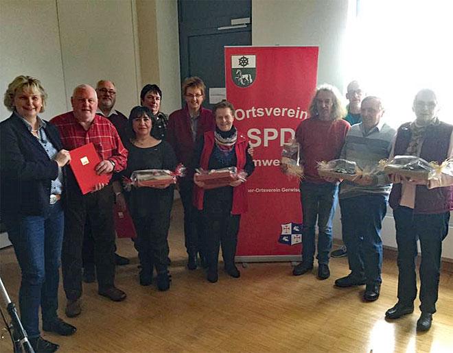 Jubilare und Gäste der Jahreshauptversammlung der SPD Lemwerder