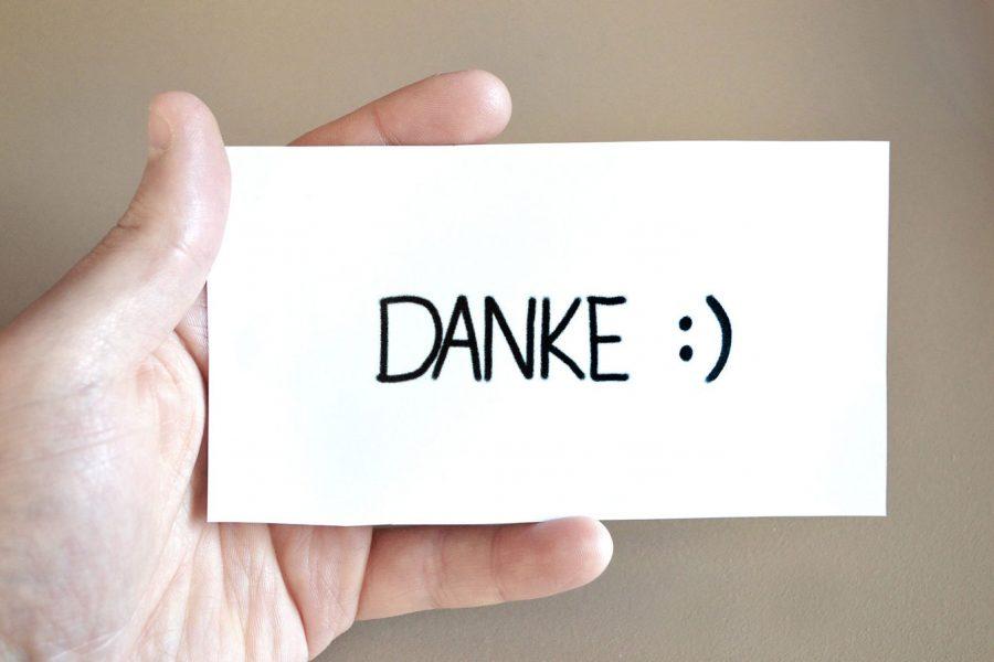 """Ein Zettel mit dem Wort """"Danke"""""""